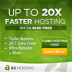 A2 Hosting Turbo - 20x faster page load speed in WordPress